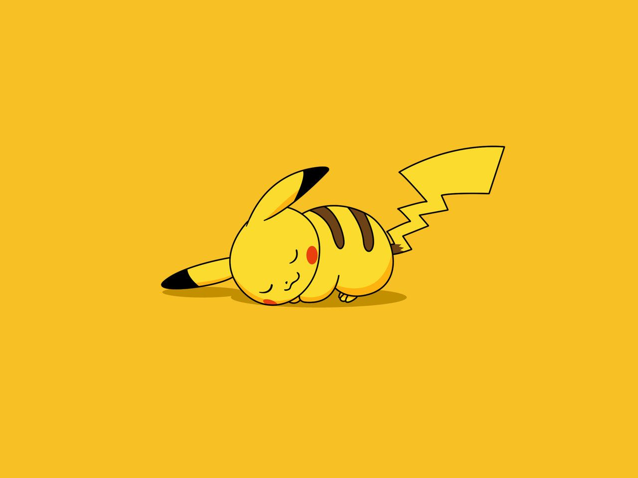 pikachu wallpaper yellow sleeping cute games jpg 1280 960