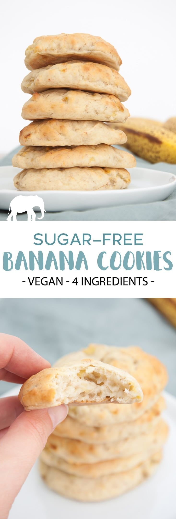 Sugar-Free Banana Cookies Recipe | Elephantastic Vegan #sugarfree