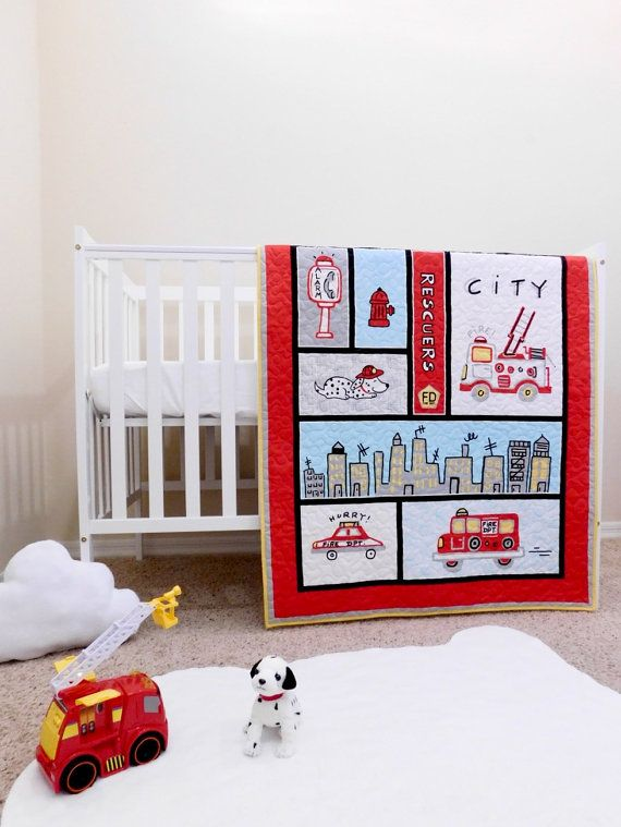 Firefighters Baby Quilt Fireman Crib Bedding Firetrucks Etsy Themed Kids Room Firefighter Baby Baby Boy Rooms