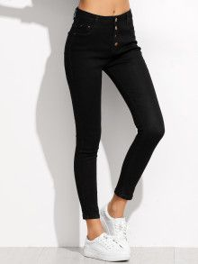 Black Single Breasted Skinny Ankle Jeans