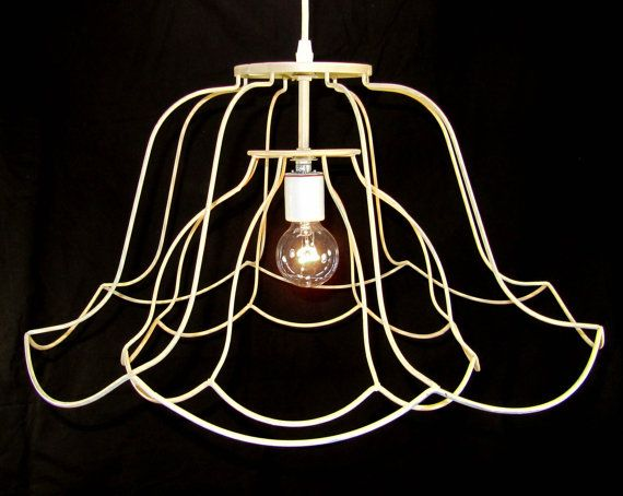 Chandelier pendant lamp shade light double skeleton by judislamps wire lampshade 2 shades upcycled together greentooth Gallery