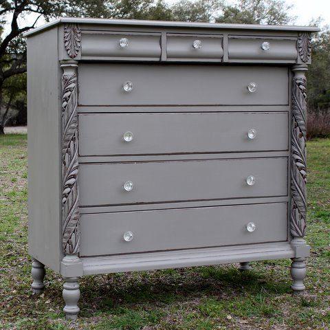 comoda gris con chalk paint   pintura muebles y paredes   Pinterest ...