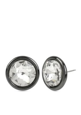 Kenneth Cole  Hematite-Tone Crystal Faceted Stone Stud Earrings