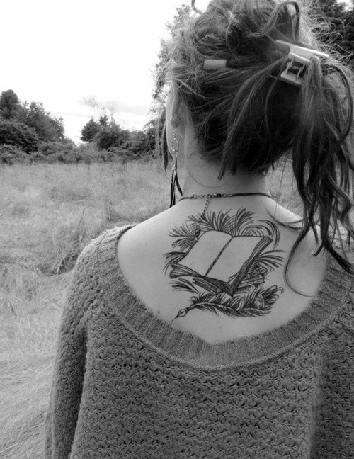 Book tattoo love the 'feathered look'