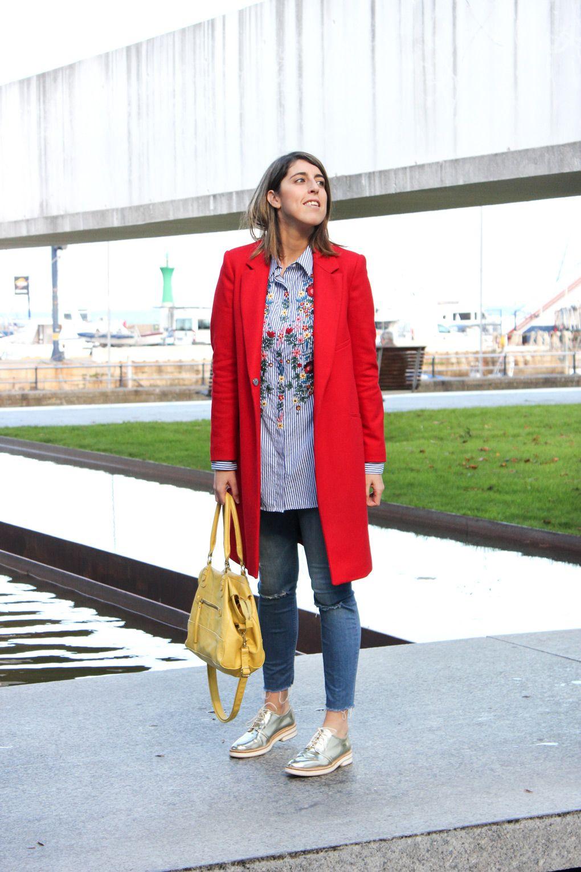 Abrigo Flores Style ModaMy Bordada Zara Rojo Blog Camisa IYbf7gv6y