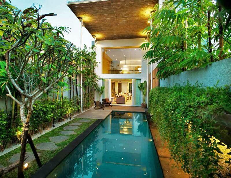 Narrow Block, Pool And Vertical Wall Garden