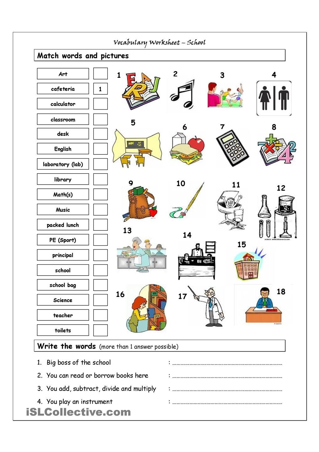 small resolution of Vocabulary Matching Worksheet - SCHOOL   School worksheets