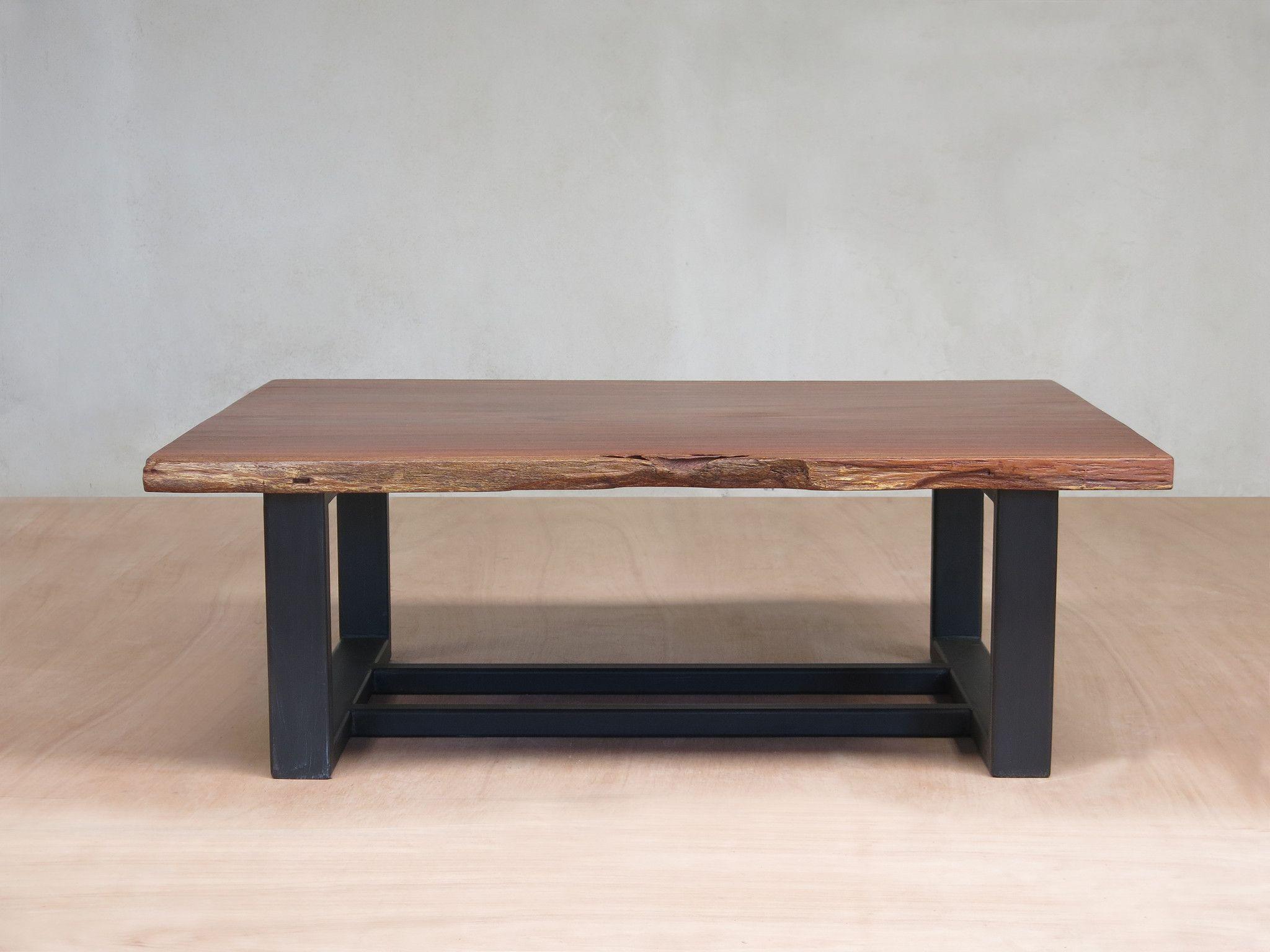 diriamba live edge slab coffee table with metal legs rosita walnut