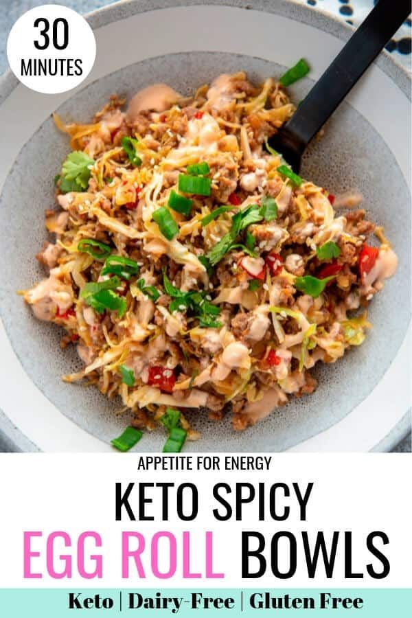Spicy Keto Egg Roll Bowls also known as Crack Slaw, takes a classic recipe and delivers next-level taste, without the carbs or dairy. Dial down the spice for the kids and enjoy the rich and complex flavors of this popular Asian dish topped with a spicy mayo sauce. This easy recipe is ideal for ketogenic, low-carb, gluten-free and dairy-free diets and can be made with pork, ground beef or chicken. #Easy Recipes low carb SPICY Keto Egg Roll Bowls (Crack Slaw)