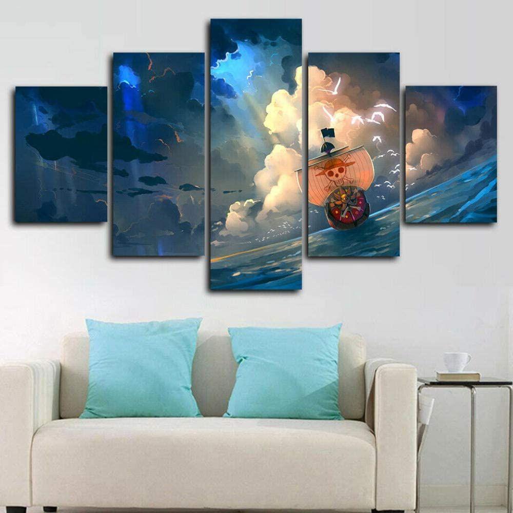 girdss bilder anime one piece the thousand sunny leinwandbild 5 teilig kunstdruck modern wandbilder xxl leinw wanddekoration leinwandbilder mehrteiliges bild leinwand bedruckt