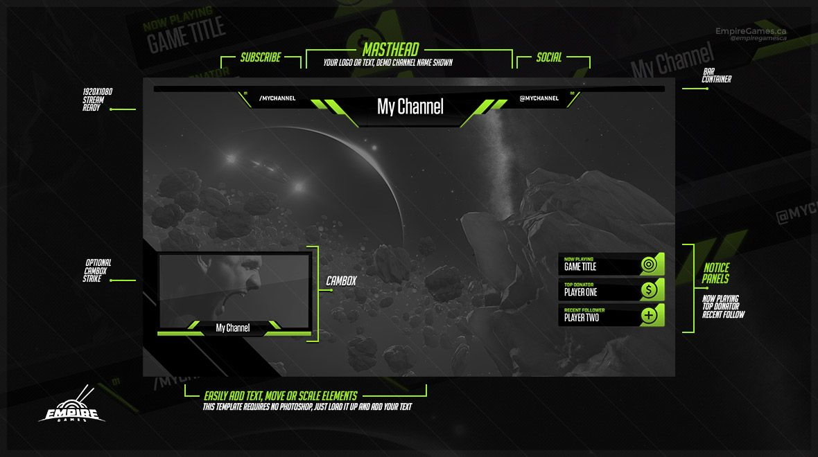 Live Stream Overlay Tech Green Twitch Amp Youtube