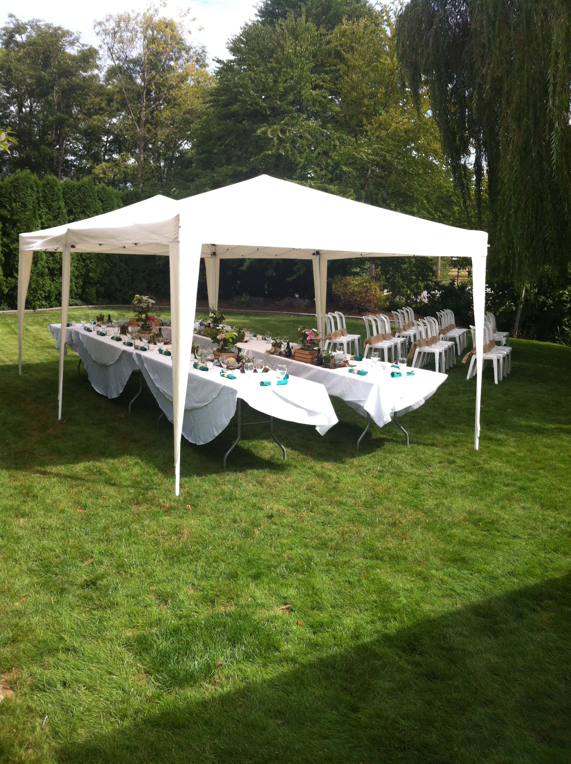 Tent set up for small backyard wedding pinteres for Small wedding reception decorations