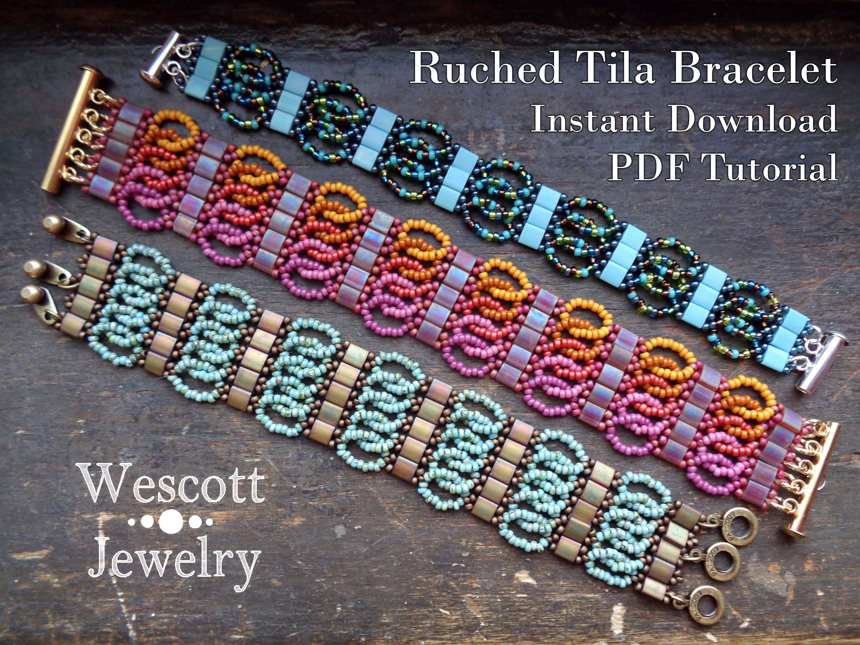 Beadweaving Pattern For Ruched Tila Bracelet Cuff With Two