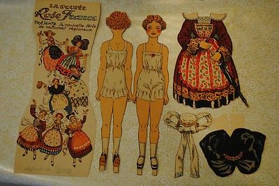 Vintage Paper Dolls from France Complete Set Circa 1890 French (10/09/2013)