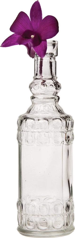Small Vintage Glass Bottle (6.5-Inch, Cylinder Design, Clear) - Flower Bud Vase - For Home Decor, Party Decorations, and Wedding Centerpieces | Luna Bazaar