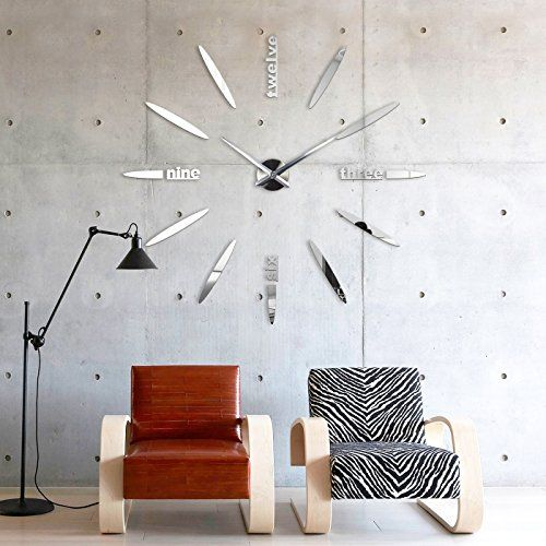xxl3d riesige spiegel wanduhr vinyl diy 130cm gro e xxl. Black Bedroom Furniture Sets. Home Design Ideas