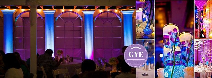 GYE's uplighting can match any wedding color palette. Here is our uplighting in action at a September 2014 wedding.
