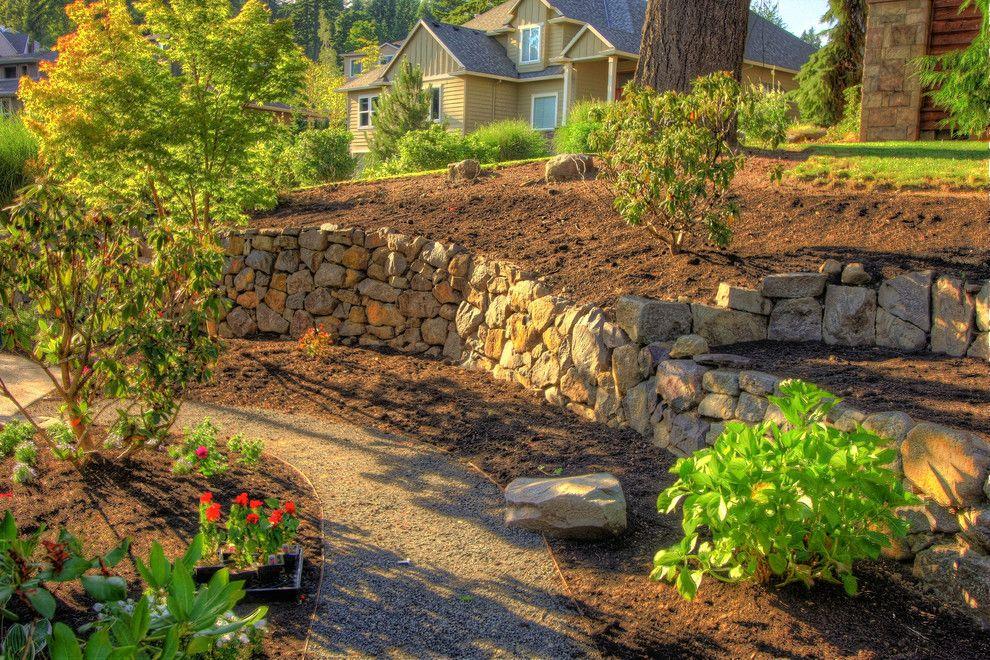 Stunning french drain landscape traditional design ideas for Hillside rock garden designs