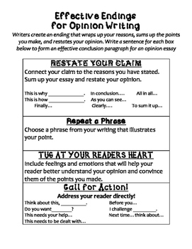 Effective Endings For Opinion Writing Opinion Writing Writing Conclusions Opinion Essay
