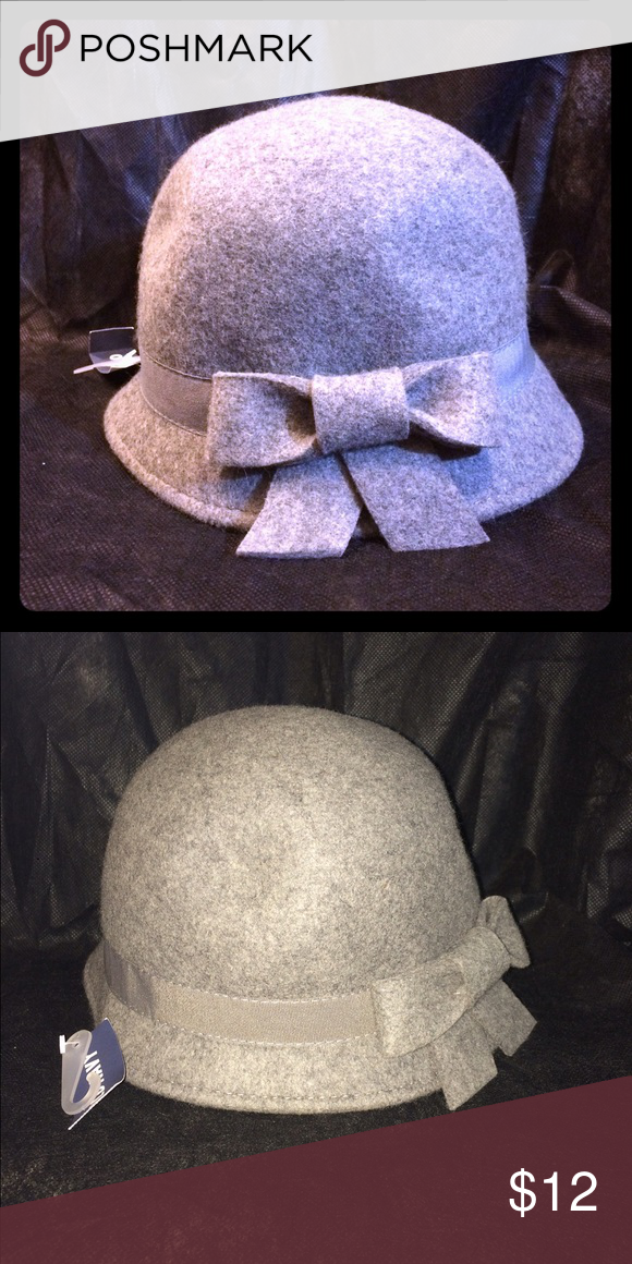 Grey Wool Bucket Hat with Bow Grey winter bucket hat with cute bow Old Navy Accessories Hats