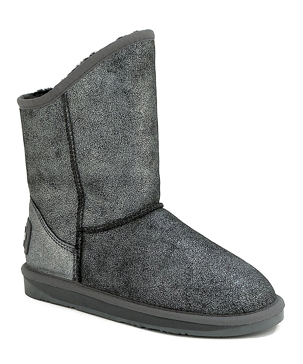 Crakle Black & Silver Cosy Short Leather Boot