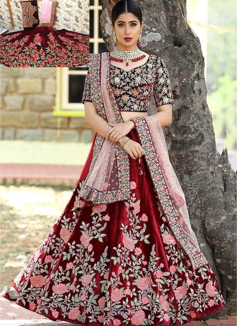 851f4389e4 Designer Maroon Heavy Embroidery Work Wedding Wear Lehenga Choli. Browse  through the latest design of bridal lehenga choli in velvet material and  maroon ...