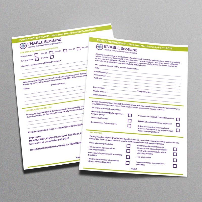 FAMILY MEMBERSHIP FORM. An application form design for Enable ...