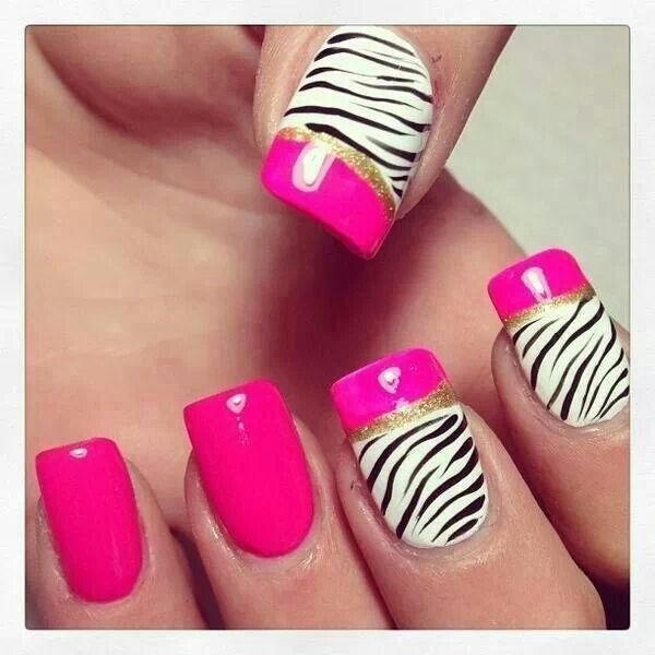 Bright Pink Black White Zebra Print Gold Glitter Nails