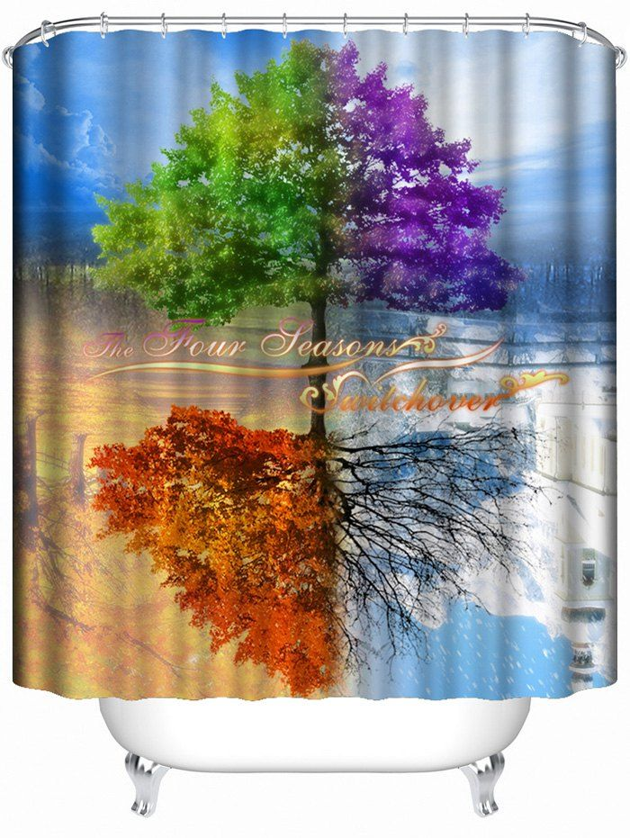 Life Tree Inverted Image Print Shower Curtain