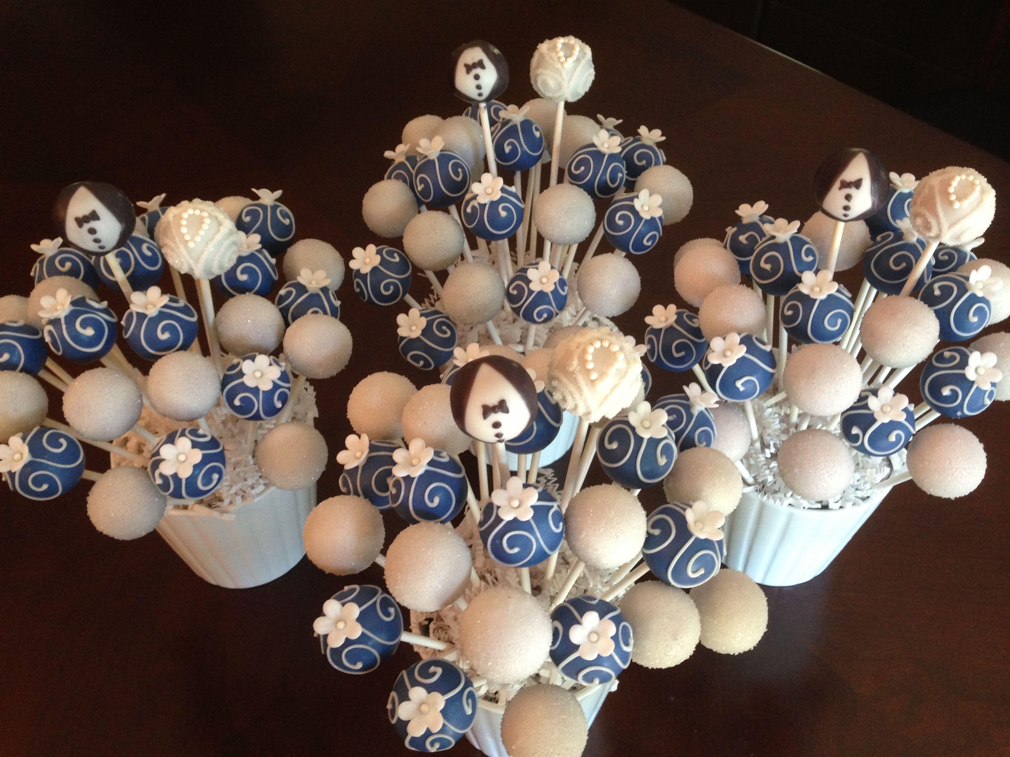 Royal Blue and White Wedding Cake Pops Cake Pops Pinterest