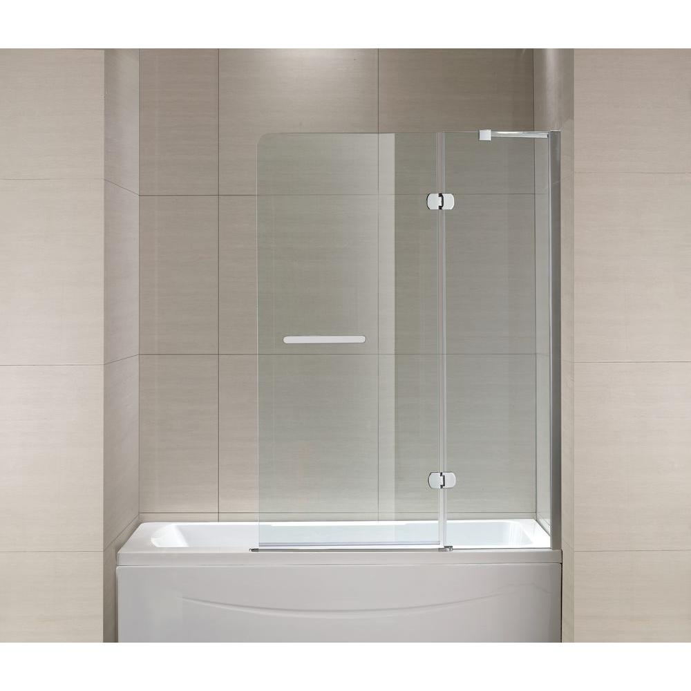 Schon Mia 40 In X 55 In Semi Framed Hinge Tub And Shower Door In Chrome And Clear Glass Sc70014 The Home Depot Shower Doors Tub Shower Doors Tub And Shower Doors