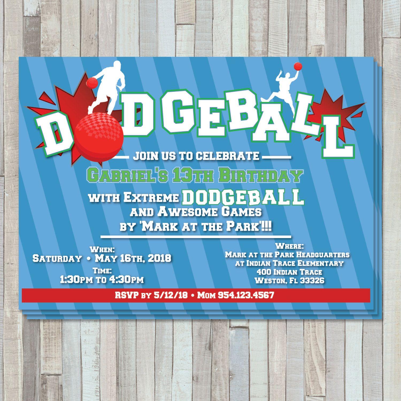 dodgeball party birthday invite by sweetgemcupcakes on etsy