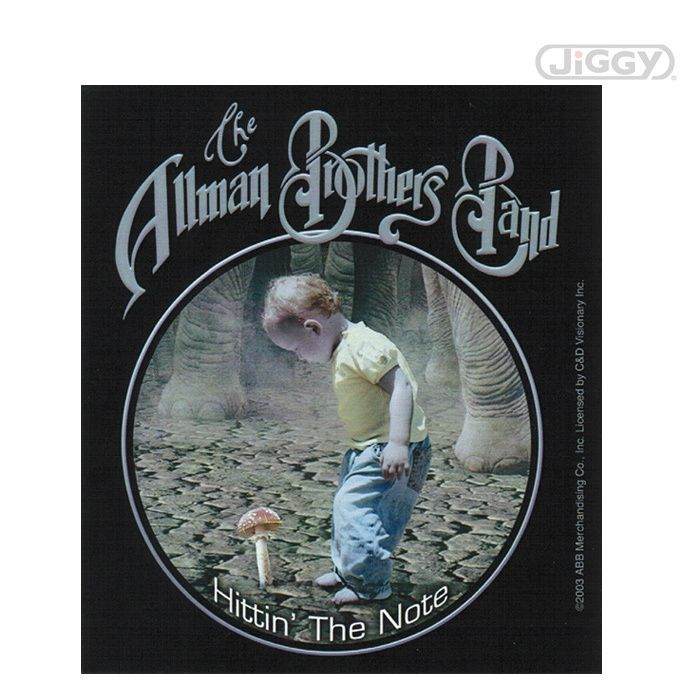Allman brothers band sticker that has a little kid walking among elephants and discovering his first
