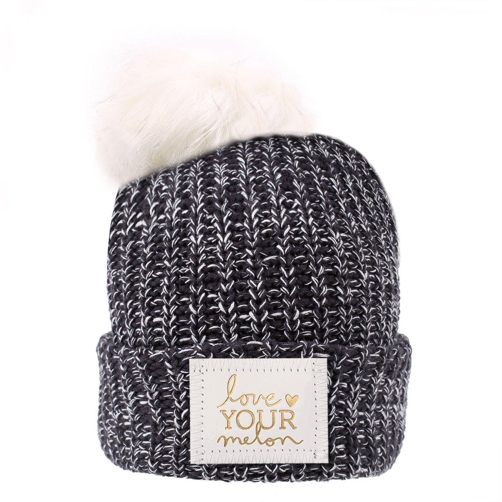 8f9c104d61ef2 Black and White Speckled Pom Beanie (White Gold Foil Patch). Find this Pin  and more on Love your melon ...