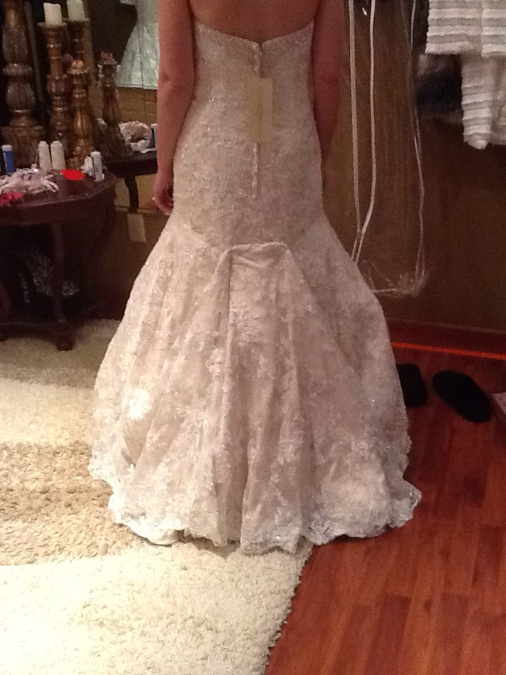 Over Bustle Lace Fit And Flare Wedding Gown Wedding Dress Bustle