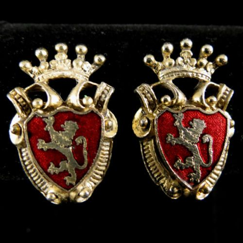 Vintage Earrings Regal Gold Tone Red Enamel Heraldic Shield | eBay