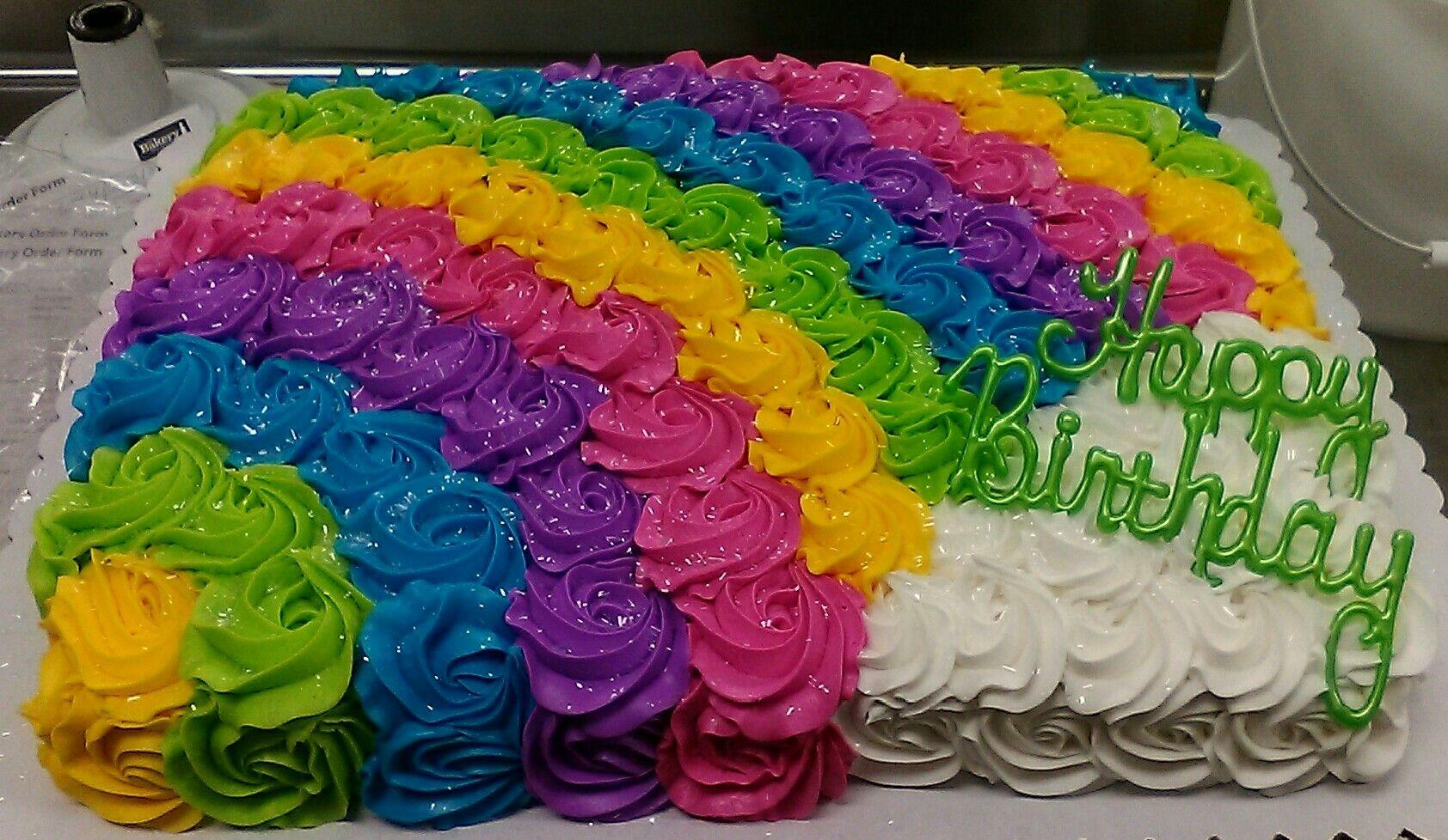 Rosettes Cake Rainbow Cake Buttercream Icing Sheet Cake
