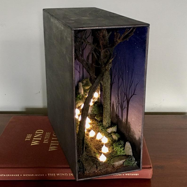 Lit Brave Willo the Wisp Book Nook Diorama shadow box