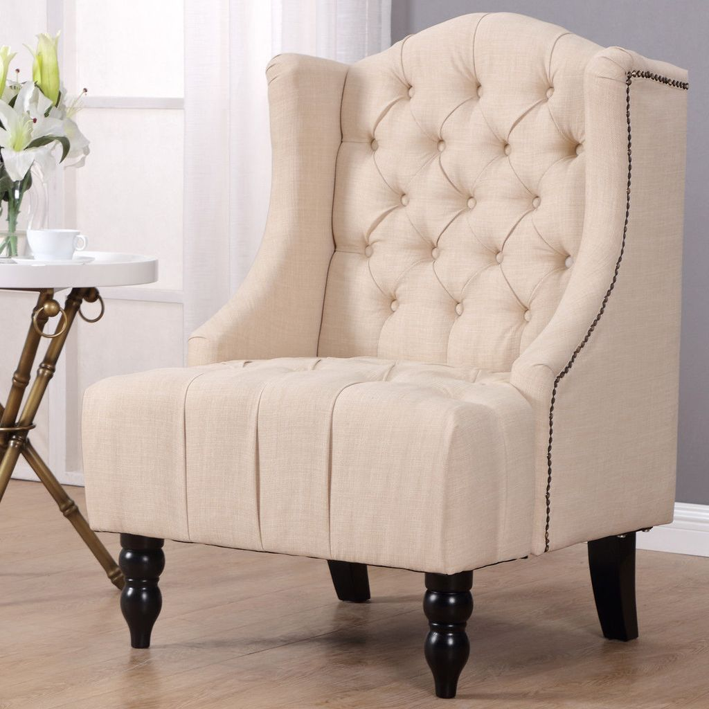 Giantex Modern Tall Wing Back Tufted Accent Armchair Fabric Vintage Living Room Sofa Chair Nailhead Living Room Chairs Accent Arm Chairs Furniture Design Chair