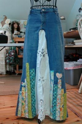 More ideas for a denim skirt -- don't exactly this one, but it's a start