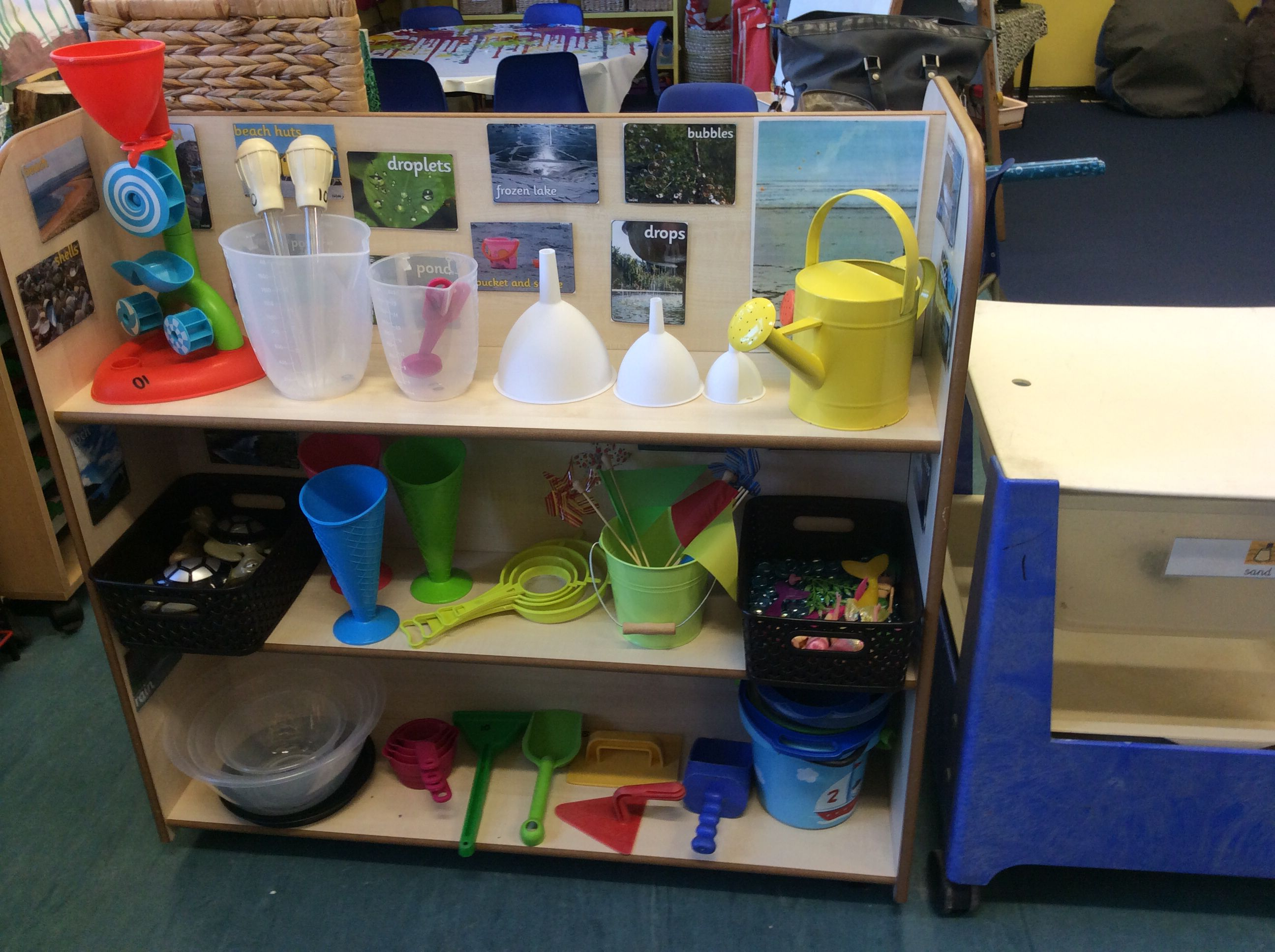 Classroom Enhancement Ideas ~ Continuous provision in the sand water area summer
