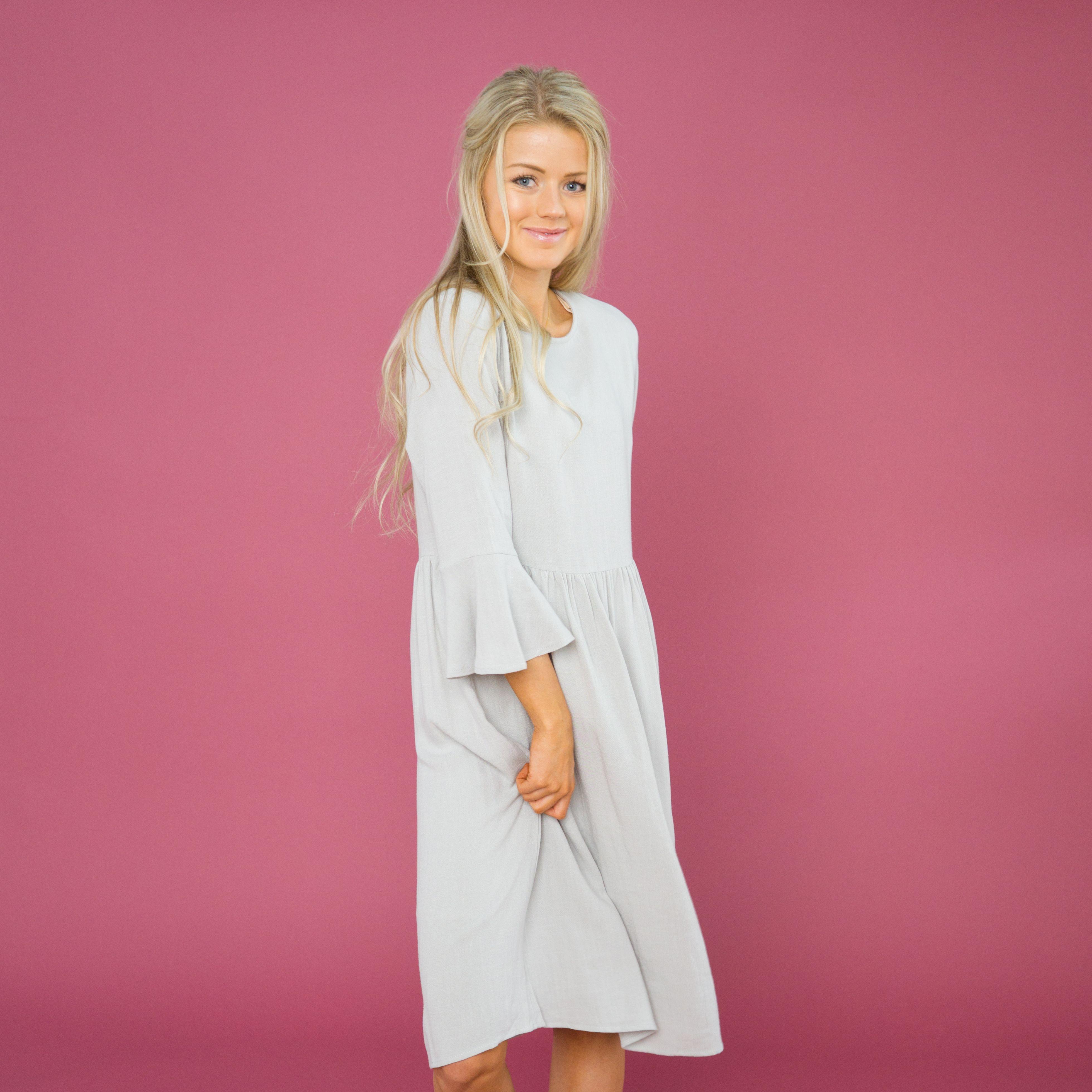 Haymarket Bell Sleeve Dress - Grey  082854ae45fd