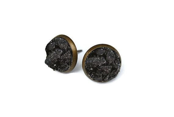 070544680 Tourmaline Stud Earrings - raw stone earrings, black tourmaline, crushed  stone earrings, black crystals, raw tourmaline, tourmaline earrings