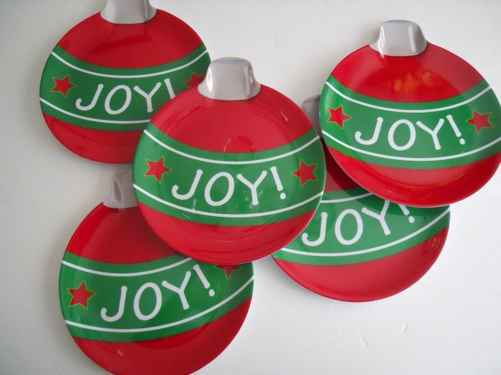 CHRISTMAS HOLIDAYS ORNAMENT STYLE PLATES WITH WORD JOY SET OF