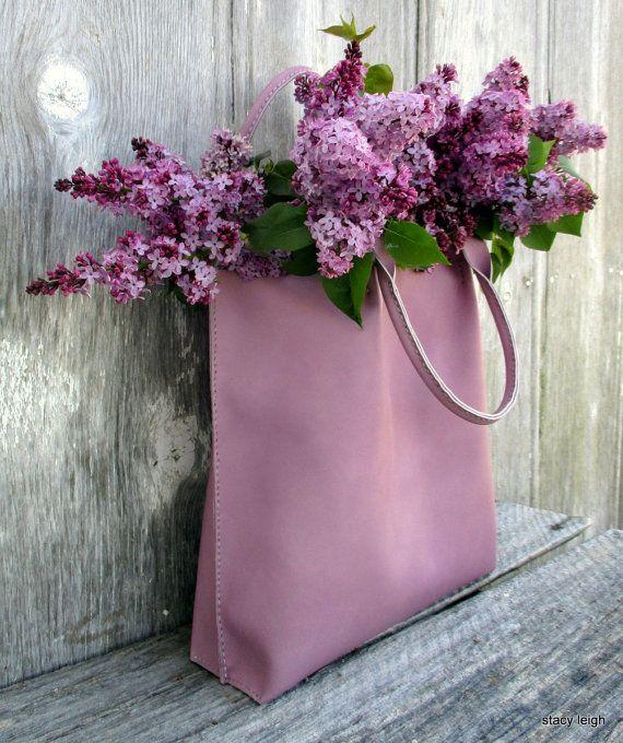 Bolso de mano cuero lila por Stacy Leigh por stacyleigh en Etsy