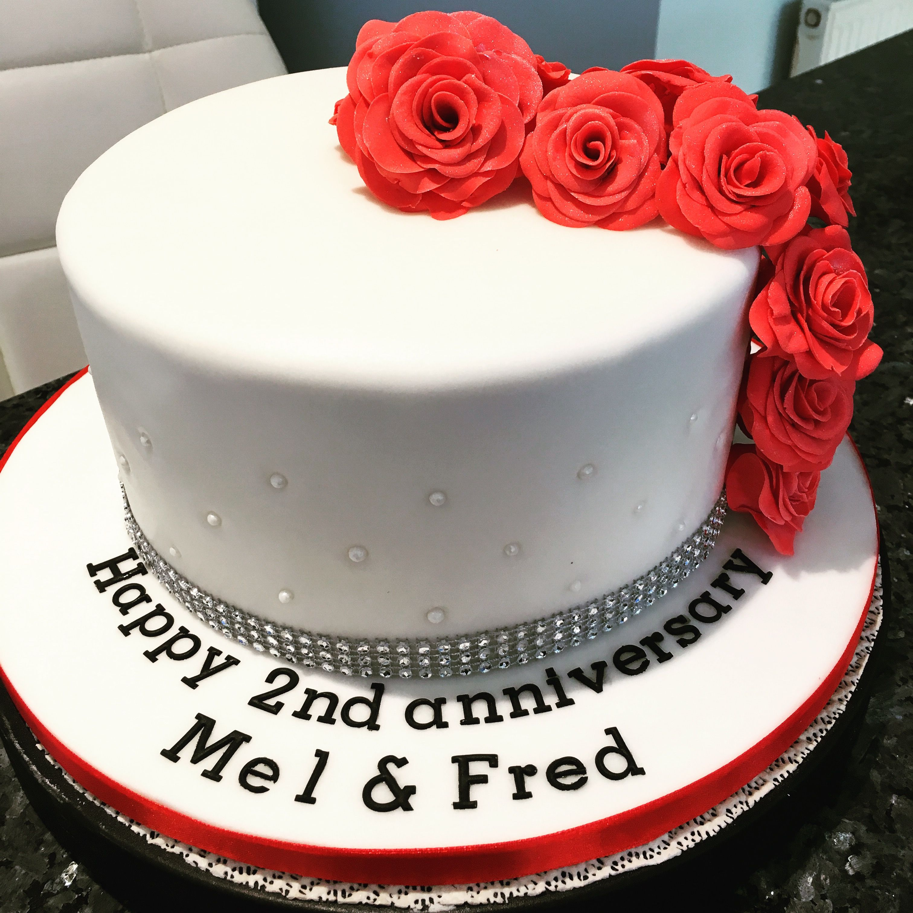 Anniversary Cake With Red Roses For 2nd Anniversary My Homemade