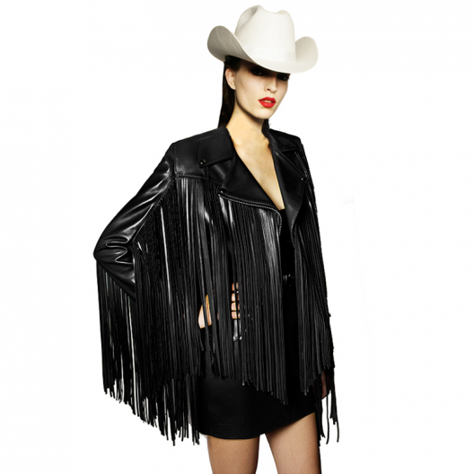 BLACK LEATHER FRINGED BIKER - Mariaescote.com