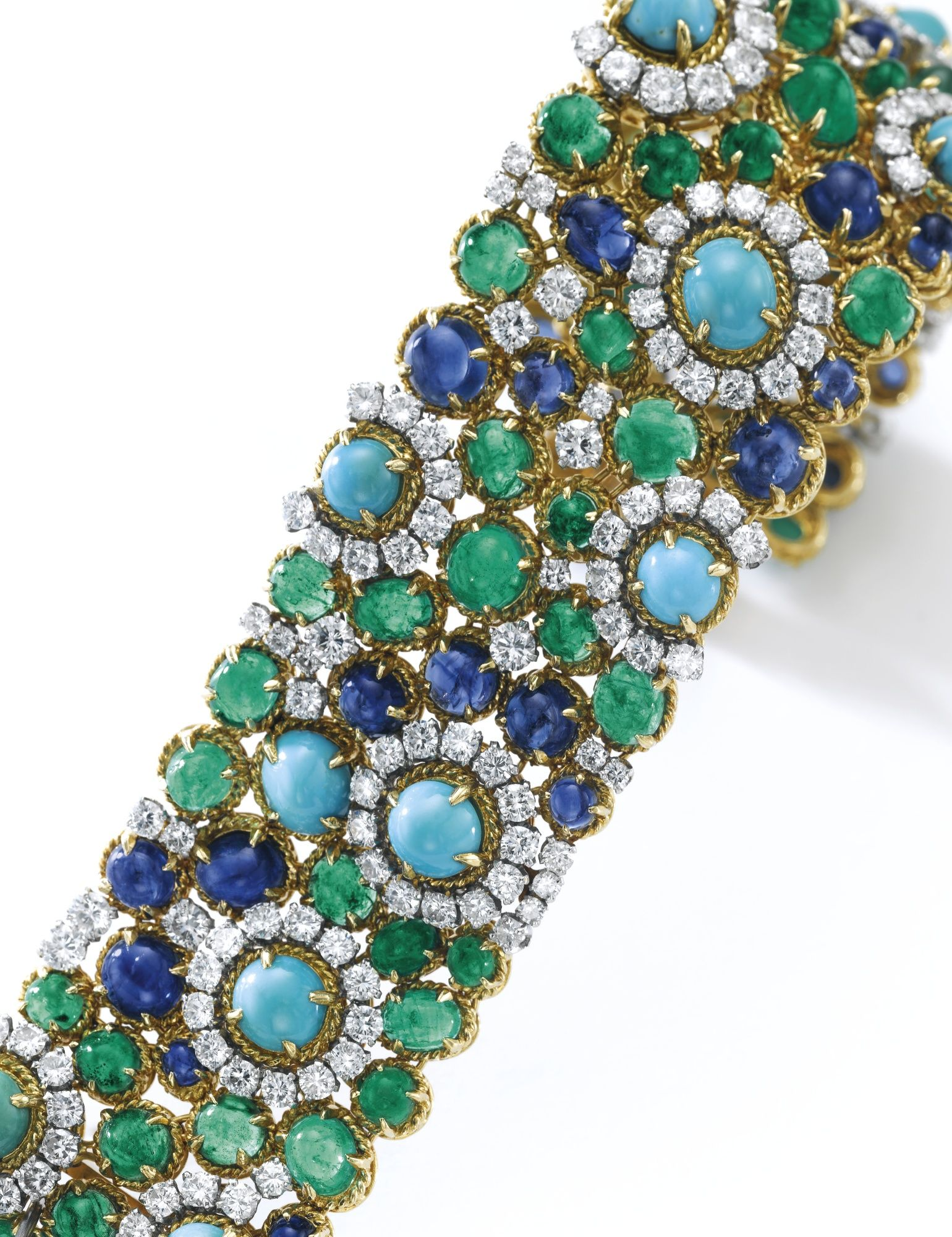Turquoise sapphire emerald and diamond bracelet van cleef