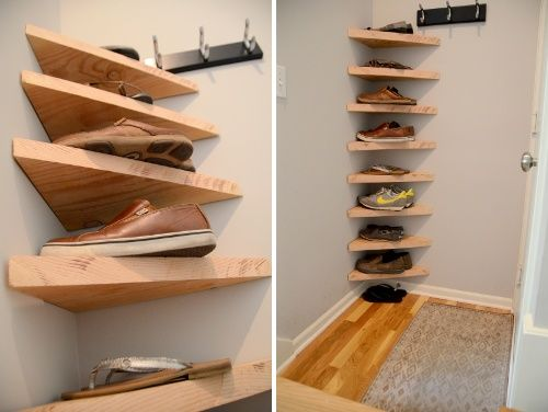 Beau Shoe Rack, I Donu0027t Like This Exposed, But Imagine A Door Across, Makes The  Most Of A Hallway Corner Space?