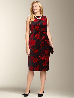 Talbots - Rose Print Velveteen Dress l